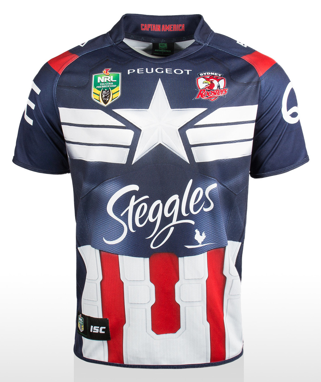 16ed54555b6 Sydney Roosters Captain America Shirt. RoostersMarvel15Front