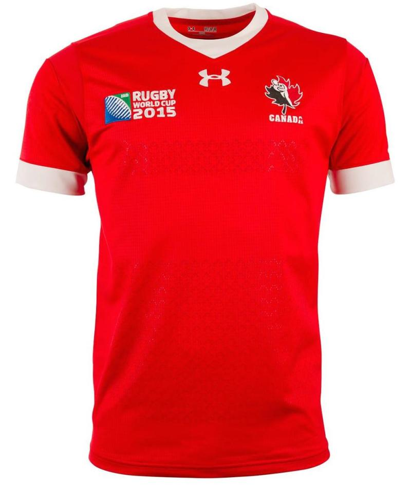Canada rugby under armour rugby world cup 2015 home shirt for Under armour shirts canada