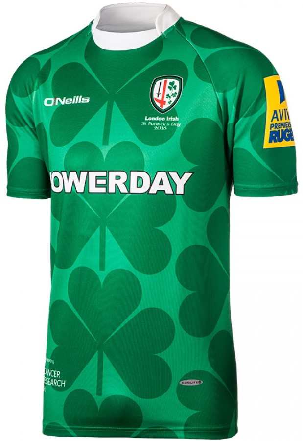 083a851d26e London Irish O'Neills St Patrick's Day 2016 Shirt. LIStPaddys2016Front
