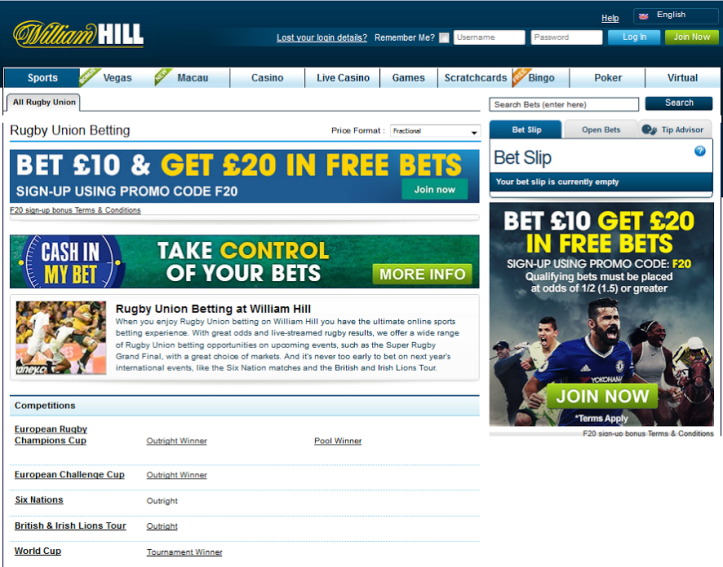 William Hill Rugby Union betting options page