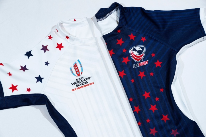 3eed8b2ce The home shirt is white with subtle stripes on the front and red and blue  stars on the sleeves and shoulders